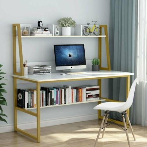 Home Office 47/55''Large Computer Desk with Hutch Bookshelf