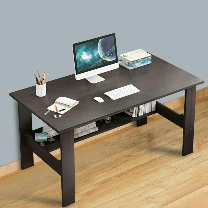 Home Office Corner Desk Wood Top PC Laptop Table WorkStation