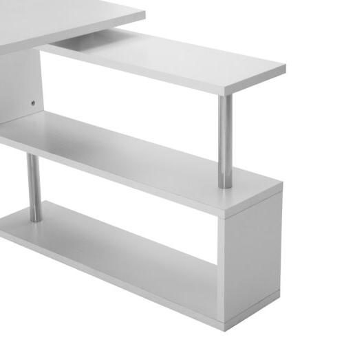 Home Computer Desk Workstation PC Table w/Storage Shelves