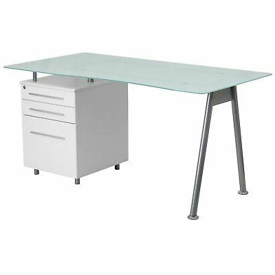 Janyn White Glass-top Computer Desk with 3-drawer Pedestal W