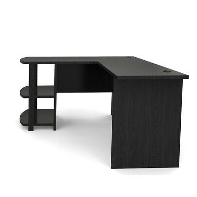 Ryan Kristen L-Shaped Desk Black