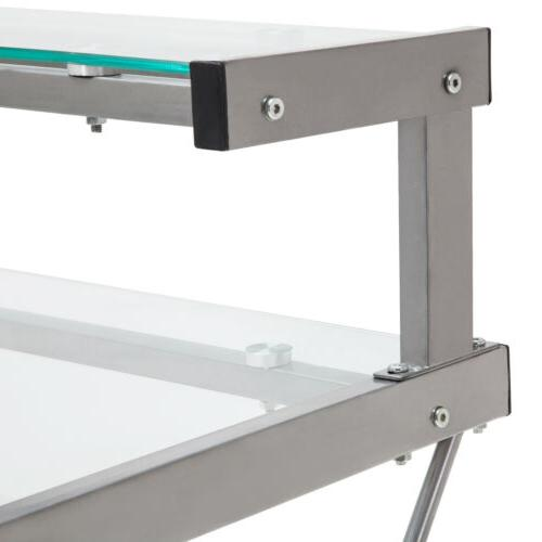 L-Shape PC Glass Table Workstation Office Clear