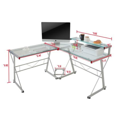 L-Shape Computer Desk PC Glass Workstation