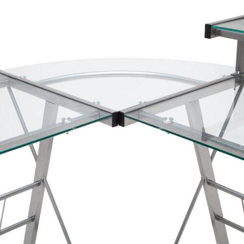 L-Shape Corner PC Glass Table Workstation
