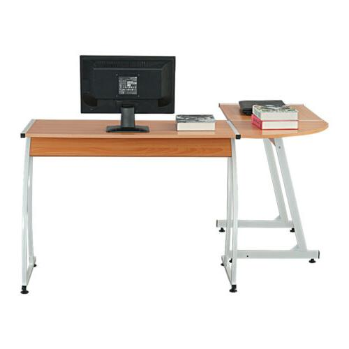 L-shaped Wooden Black Computer Desk Home Office Laptop PC Ta