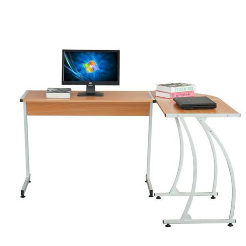 New L Shaped Desk Office Computer Wood Corner Desk Wood Colo