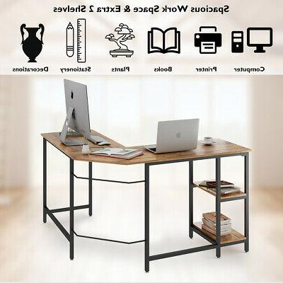 L-Shaped Computer Desk Gaming Table Workstation with