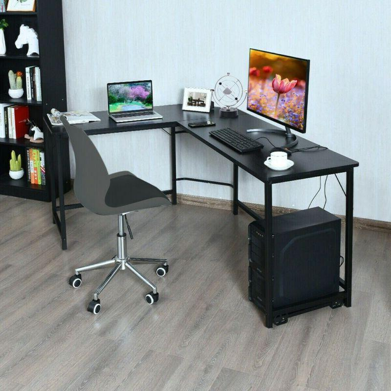 L-Shaped Table Home Office Workstation CPU Stand
