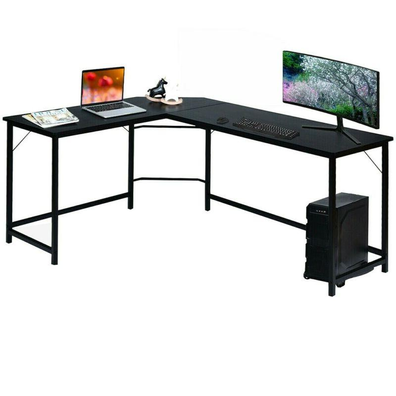 L-Shaped Computer Table Workstation CPU