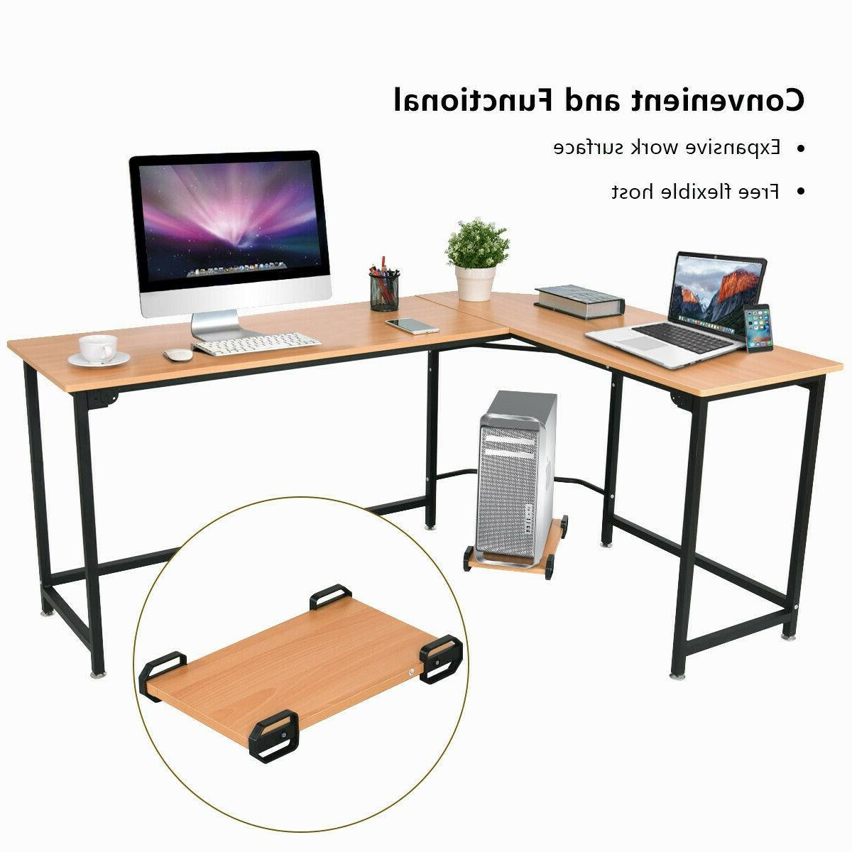L-Shaped Desk Home Office PC Work Table