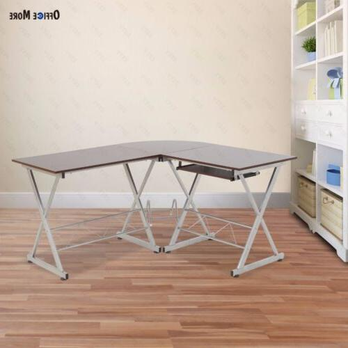 L-Shaped Corner Computer PC Table Workstation Office