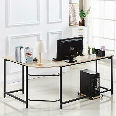 L-Shaped Corner Desk W/ CPU Stand Writhing Laptop PC Home Of