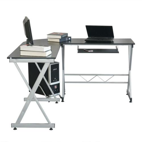 L-Shaped Corner Gaming PC Table W/ Stand