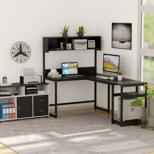 L Shaped Desk with Hutch Computer Office Furniture Home Work