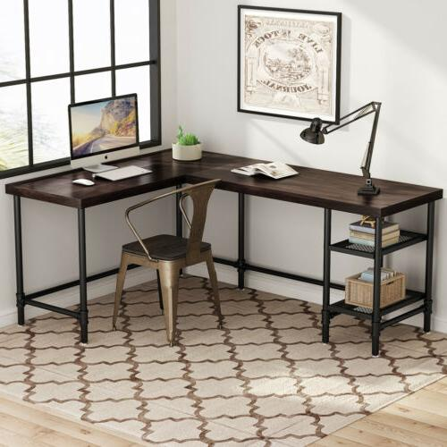 Tribesigns L-Shaped Desk with Storage Shelves Solid Wood & M