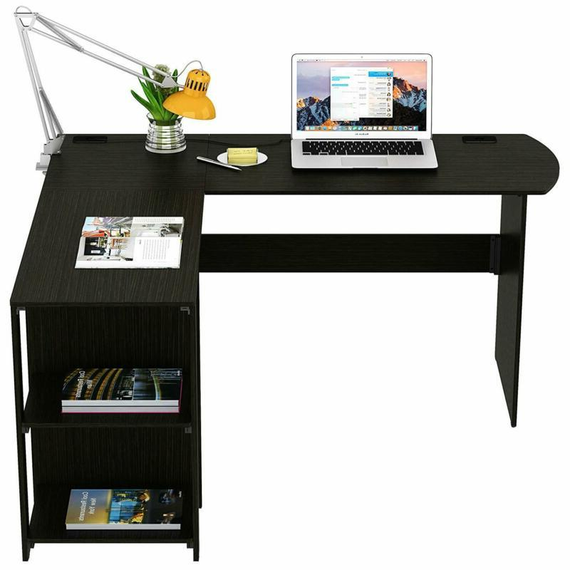 SHW L-Shaped Home Office Wood Corner Desk,