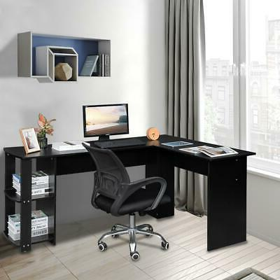 l shaped wooden black computer desk home
