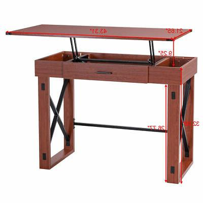 Lift Top PC Table Writing Study Workstation New
