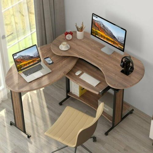 LShaped Computer Desk Tribesigns Rotating Modern Office Spac