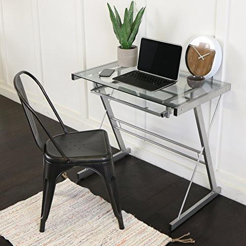 metal glass computer desk