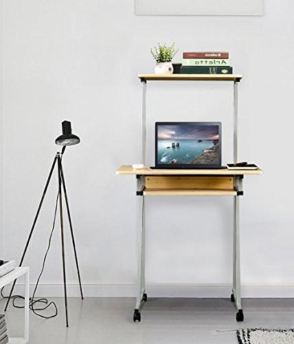 Aingoo Mobile Desk Small Rolling Work Workstation with Keyboard Space