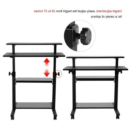 Mobile Height Adjustable Sit & Stand PC Table