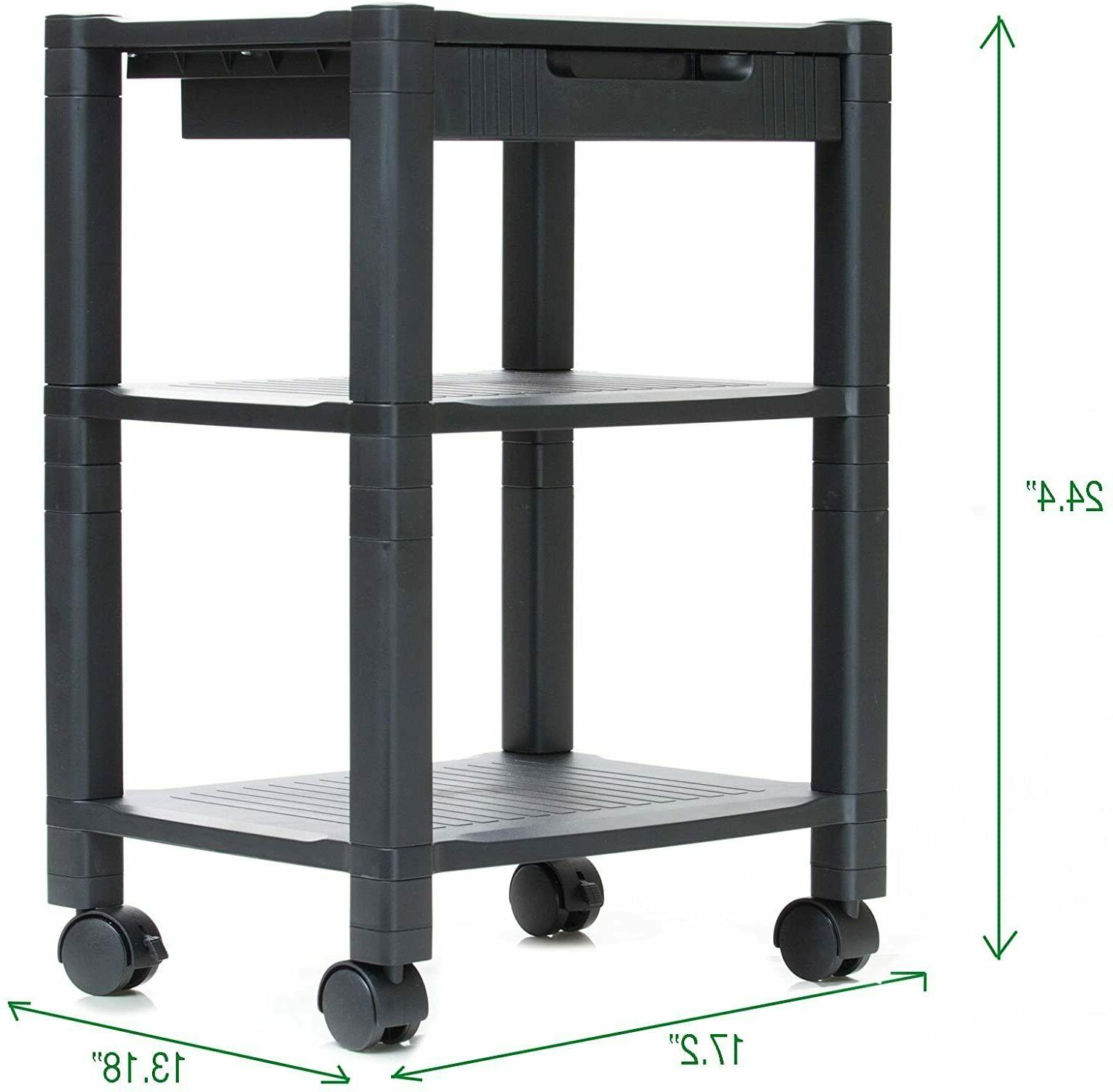Mobile Printer Stand Organizer Table Rack Office Computer La