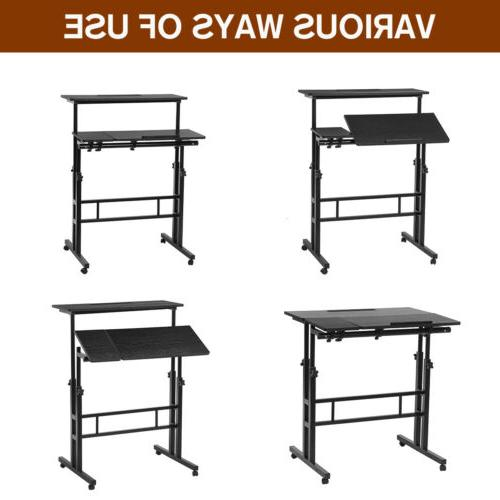 Adjustable Height Sit Stand Mobile Table Home