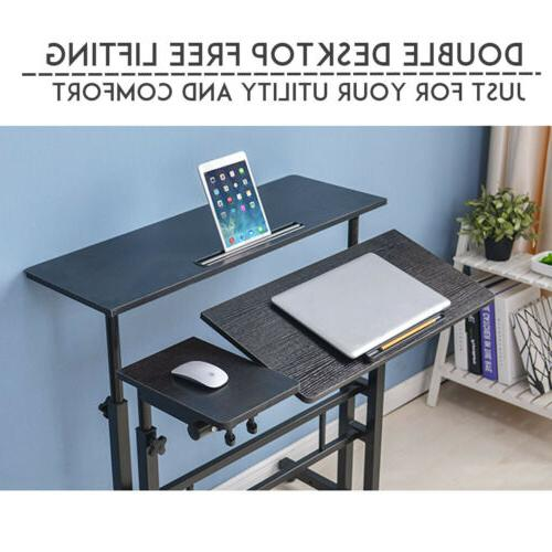 Adjustable Height Sit Stand Mobile Table Home Workstation