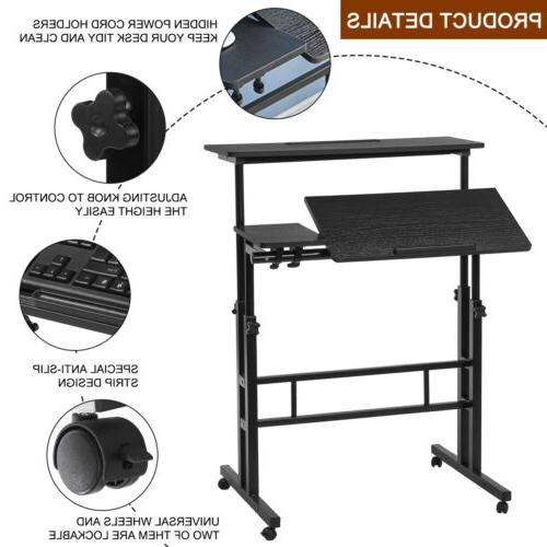 Adjustable Sit & Stand Computer Mobile Table Home