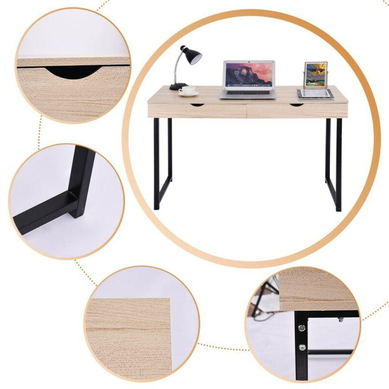 Simple Computer Table Office Desk Table Workstation 2 Drawer