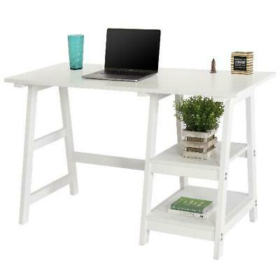 modern home computer writing trestle desk white