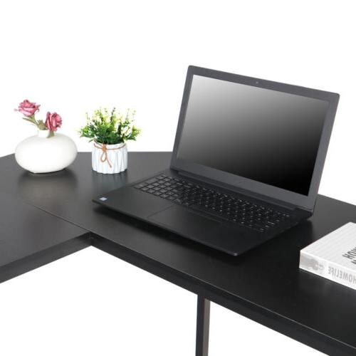 """51"""" L-Shaped Computer Desk Large Round & PC Stand"""