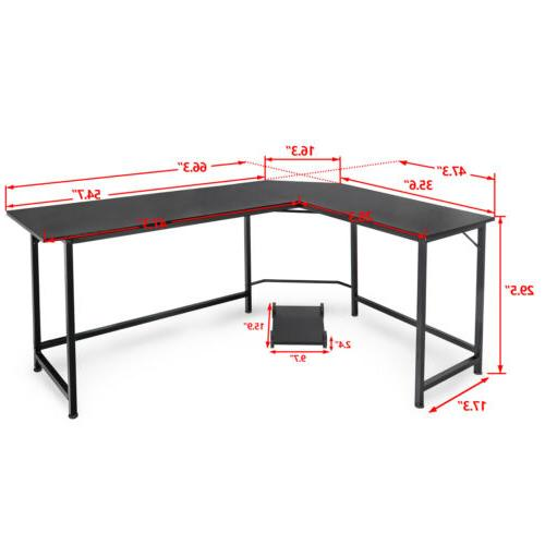 "Computer Desk 51"" Modern L-Shaped PC Stand with Round"