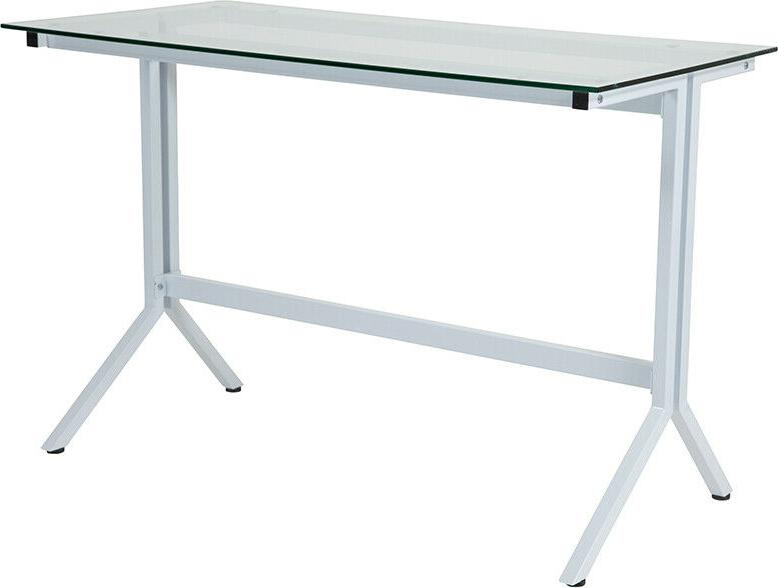 Modern Sleek Computer Desk with Tempered Clear Glass Top & W