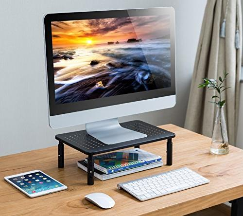 Premium Laptop Stand with Stable Fashionable Height Adjustable with Perfect Computer iMac Stand, or Computer Shelf