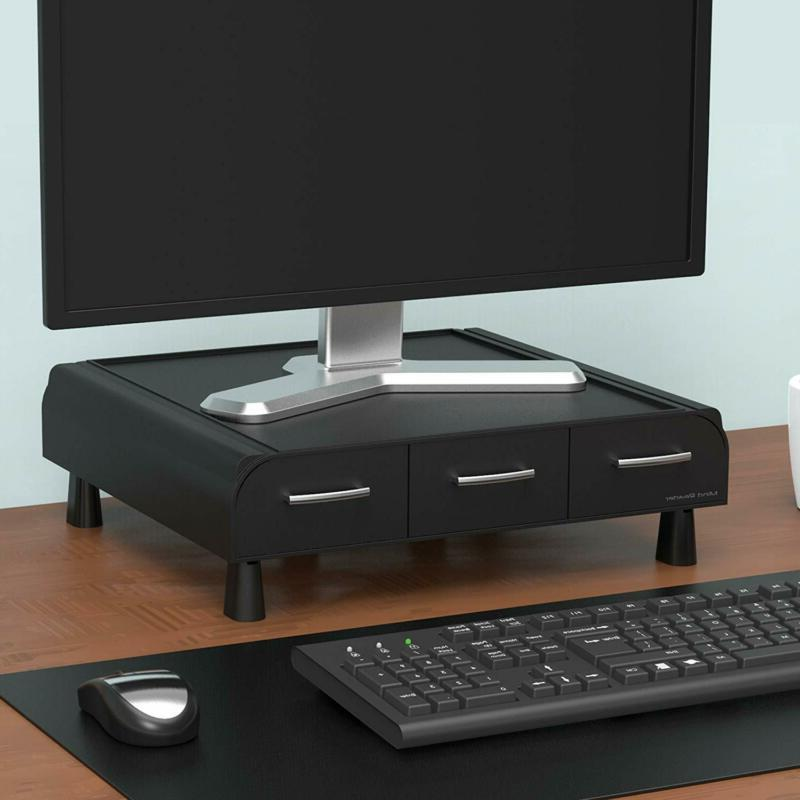 Monitor Stand And Organizer Storage For Pc Accessories