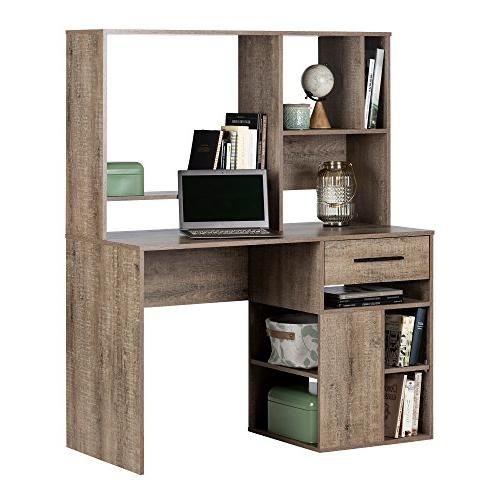 South Shore Narrow Home Office Desk Hutch, Oak