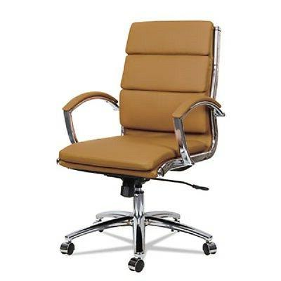 Neratoli Mid-Back Slim Profile Chair, Camel Soft Leather, Ch