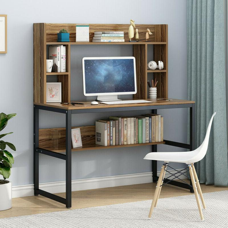 Computer Desk with Hutch and Bookshelf, 47 Inches Home Offic
