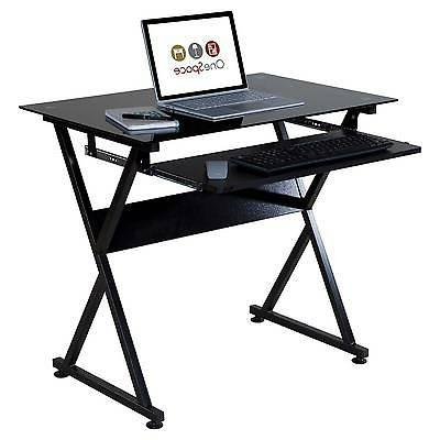 Onespace Glass Computer Desk With Pull-Out Keyboard Tray Black