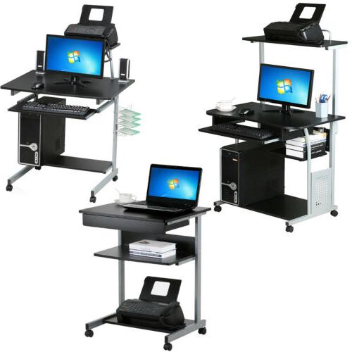 rolling computer desk workstation study writing pc
