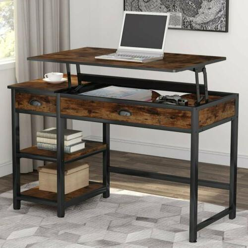 Tribesigns Rustic Lift with Drawers &Storage Shelves