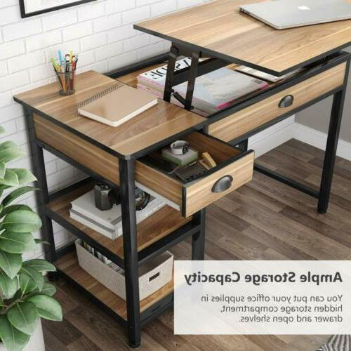 Tribesigns Lift Top Computer Desk Desk with Drawers &Storage