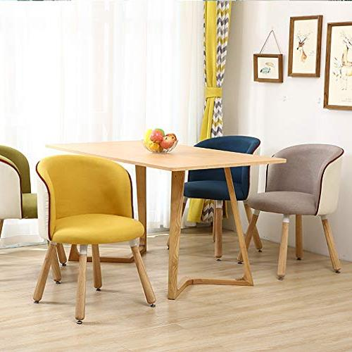 C.K.H. Modern Solid Wood Desk Chair Learning Nordic Computer Dessert Shop Dinette Yellow