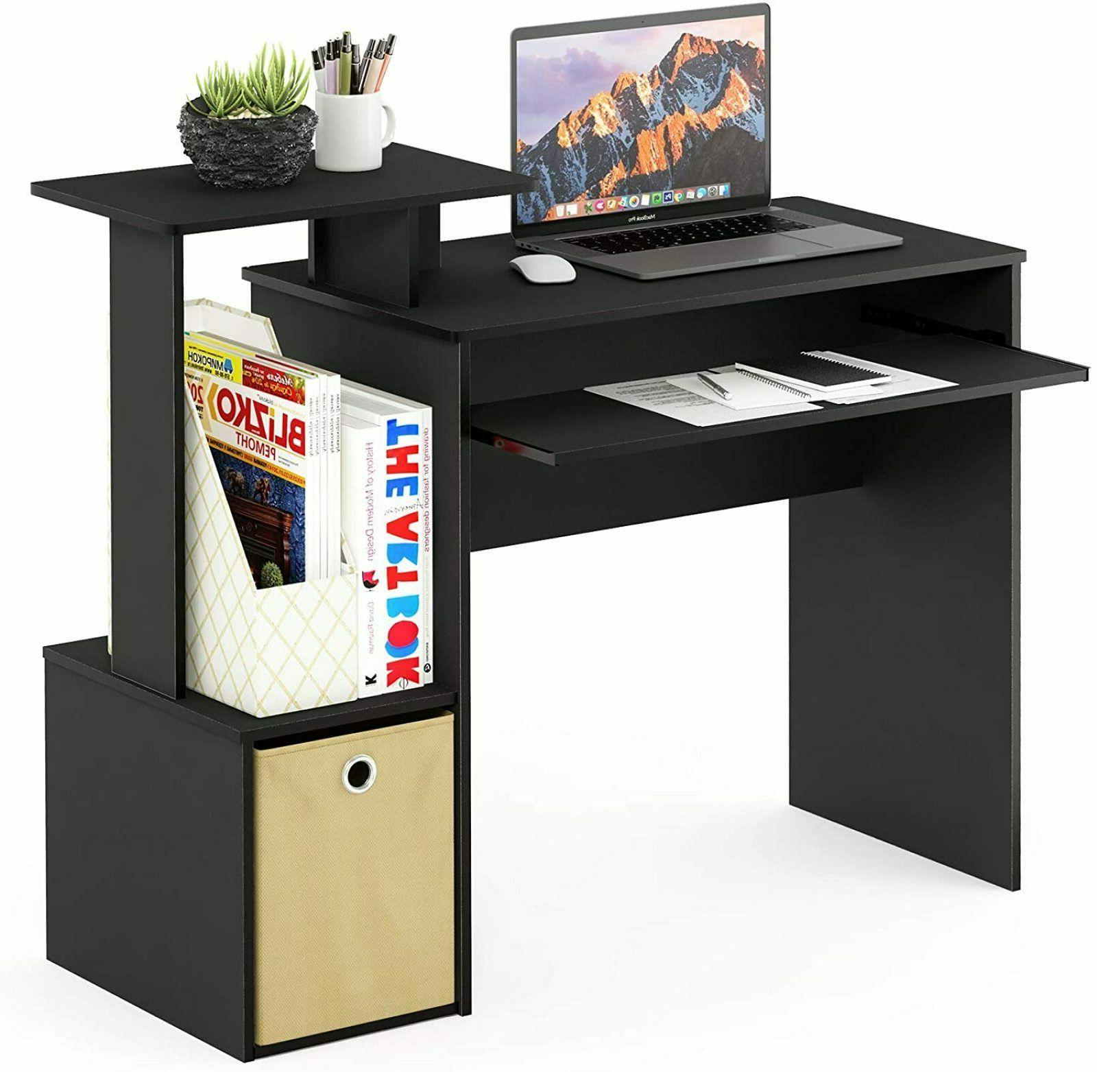 Small Computer Wood Workstation With keyboard