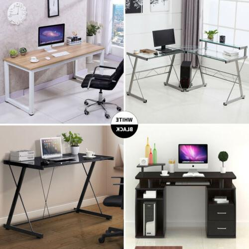 tempered glass wood computer desk pc laptop