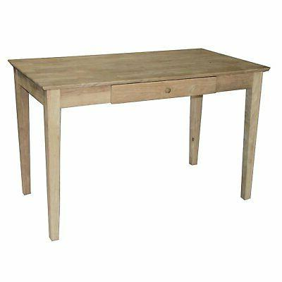 unfinished solid wood desk laptop computer writing