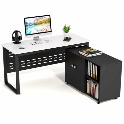 computer desk with file storage cabinet tribesigns