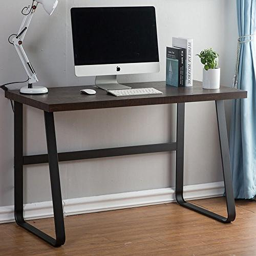 DYH Computer Wood Writing Desk, PC Office Study Espresso 47